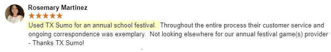 Review from Rosemary Martinez - for annual school festival