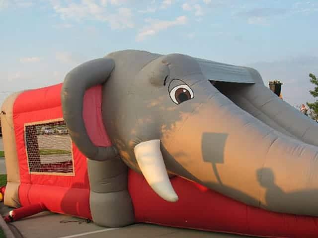 elephant--bounce-house-slide