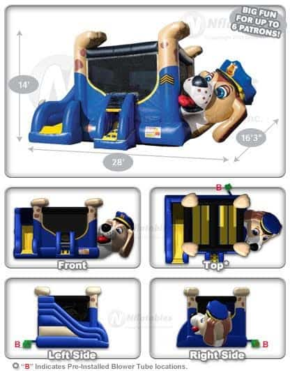 police-dog-bounce-house-dimensions