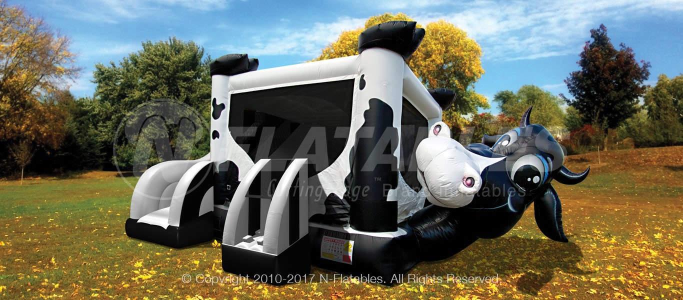 Cow Bounce House with Slide Rental
