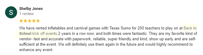 Review from Shelby Jones - Rented carnival games for back to school events
